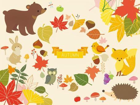秋天的樹葉框架和動物插圖(2)