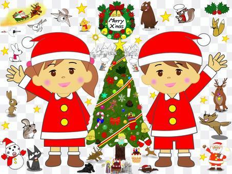 子供_クリスマス_セット_ツリー