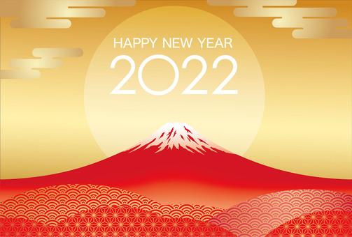 2022年富士山新年賀卡模板