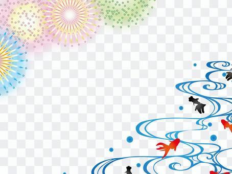 日本的框架金魚和煙花