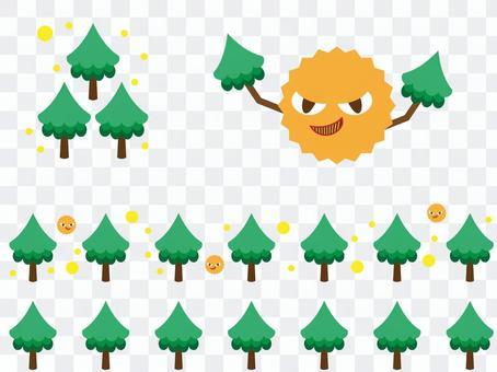 삼나무 꽃가루의 이미지 일러스트