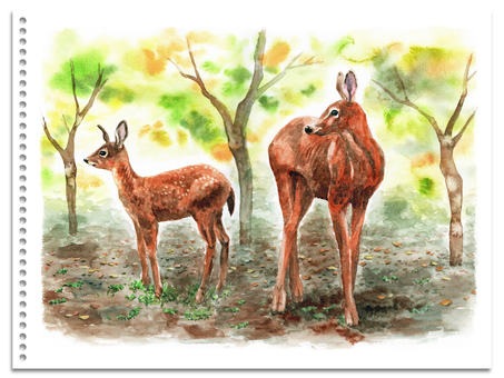 Analog watercolor Deer parent and child in autumn park