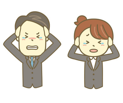OL set with a businessman holding a head