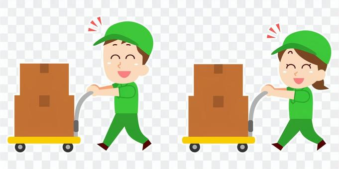 送貨員帶著小車提著行李