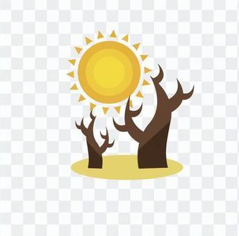 Sun and dead tree