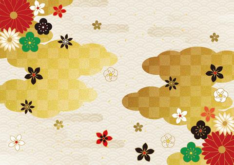 日本圖案和金箔雲背景 2865