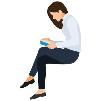 Business woman reading sitting reading