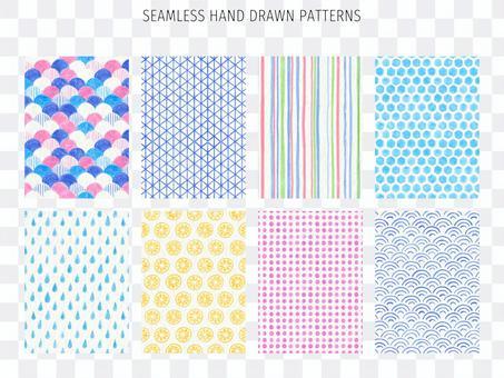 Cute hand drawn pattern background set