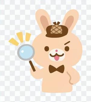 うさぎの探偵キャラクター(虫眼鏡)