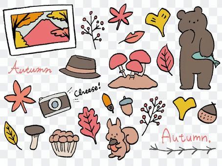 手描き 秋のお出かけセットA くまりす