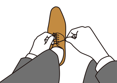 Businessmen who tie shoelaces up