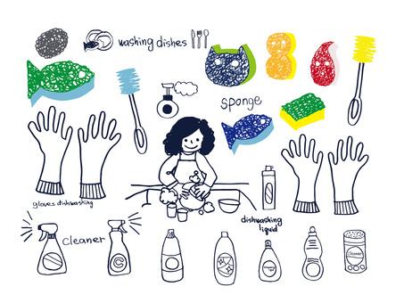 洗碗插圖集