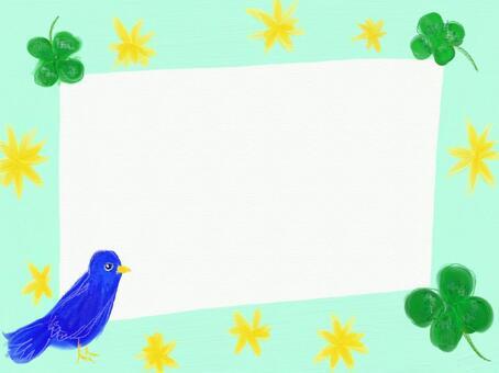 三葉草和藍色的鳥框架