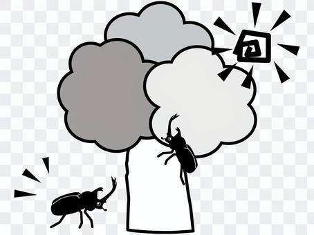 甲蟲爬上一棵樹(黑色和白色)