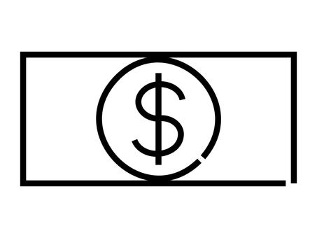 鬆散的手寫美元鈔票圖標:黑線