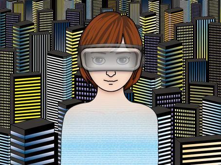 Night view of skyscraper (4) VR virtual reality