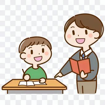 一位老師教學生學習的插圖