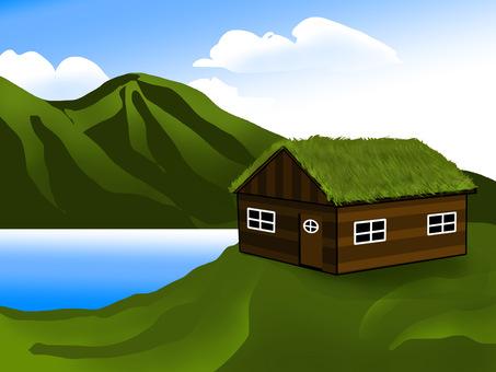 Scandinavian nature and grass roof house