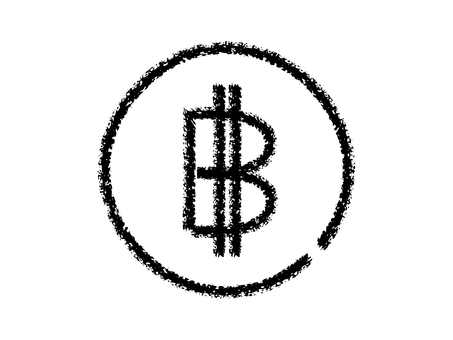 蠟筆手寫比特幣圖標:黑線