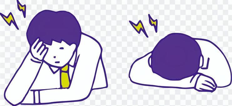 Headache office worker set