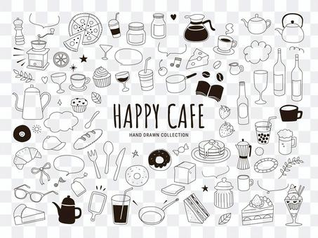 Cafe hand-painted line art illustration set