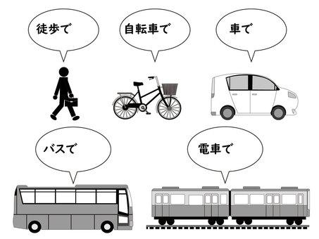 如何步行、自行車、汽車、公共汽車、火車 2
