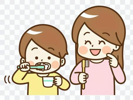 Children and adults brushing their teeth