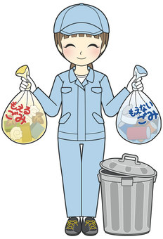 A woman in work clothes that puts out trash