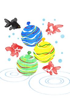 金魚和溜溜球夏季問候明信片垂直