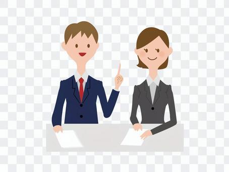 男性和女性會議