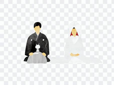和服新郎和新娘