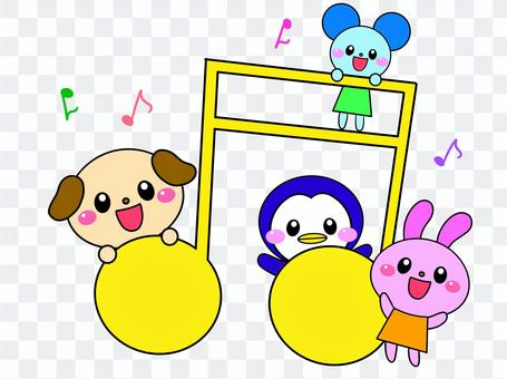 音符と動物達