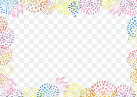 水彩煙花的彩色框架