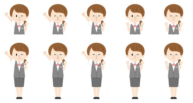 Female receptionist_guts pose