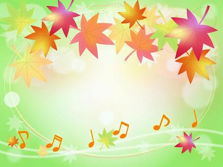 Notes and autumn leaves background Green