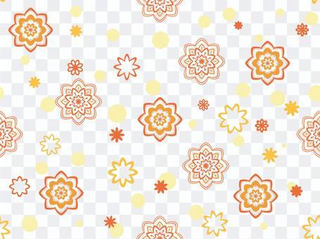 壁紙橙色與花卉圖案