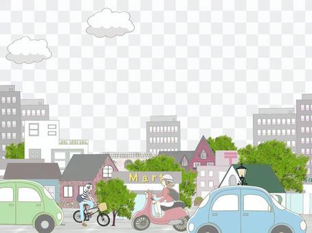 摩托車,自行車和汽車的城市景觀