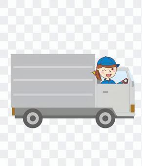 在途的女送貨員