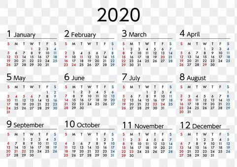 2020年カレンダー日曜始まりA4横長