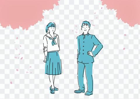 春季新生插畫學校跑步和水手服