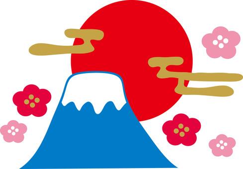 Mt. Fuji plum New Year's card material New Year