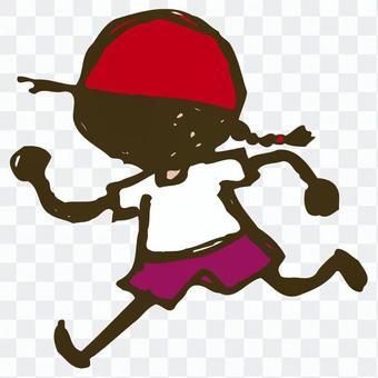 女孩括號紅色的帽子