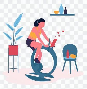 健身自行車上的女性分銷商