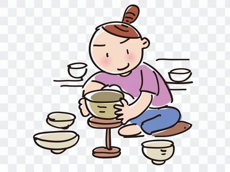 女人在做陶器