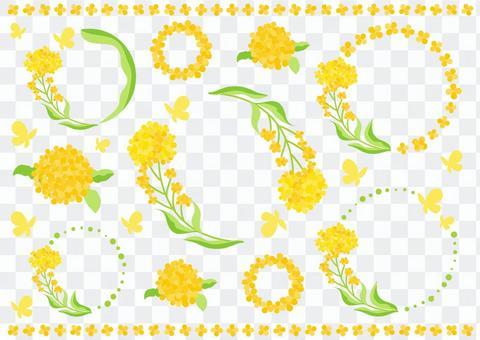 菜の花の円フレームセット透過アリ