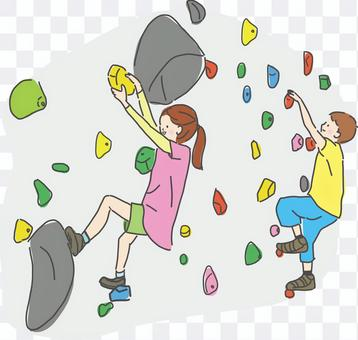 ボルダリングをする子供
