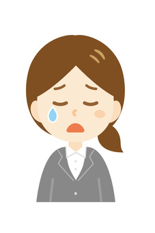 Young woman_suit_crying face