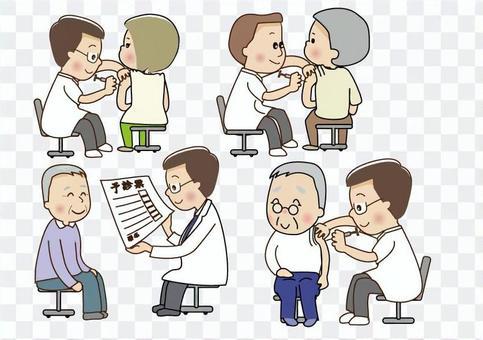 Medical examination inoculation illustration