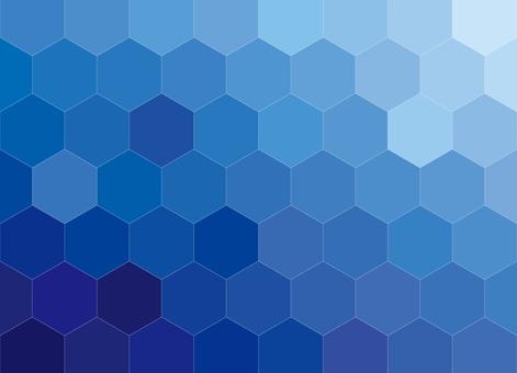 六角形蜂窩圖案背景漸變藍色