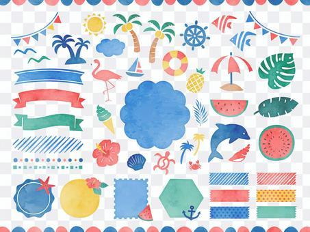 夏季水彩設計與插畫素材集